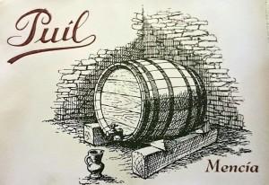En la etiqueta del vino joven, el puil son los soportes de madera situados bajo la barrica. Bodegas Puil.
