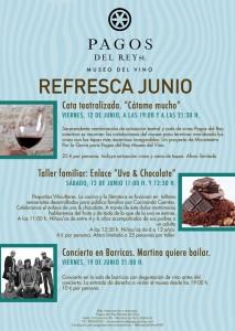 Cartel de actividades de junio. Museo del vino de Pagos del Rey.