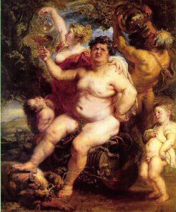 Imagen de Baco, Rubens 1638-40. Dios del vino