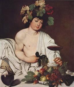 Imagen dios del vino, Dioniso hijo de Zeus. Caravaggio 1596