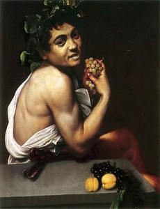 Pintura de Baco enfermo, Caravaggio 1593-94. Dios del Vino