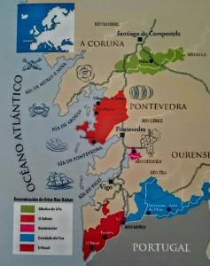 Mapa con las subzonas de la D.O. Rías Baixas