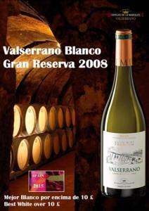 Imagen Valserrano Blanco Gran Reserva 2008 mejor vino blanco español en Reino Unido