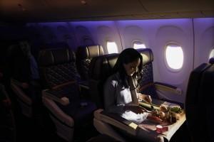 Imagen primera clase de Delta Airlines. Cariñena despega en Estados Unidos con Delta Airlines