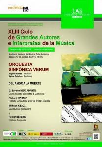 Imagen Cartel concierto en auditorio nacional. Bodegas Verum