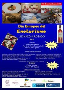 Imagen. Cartel Lechazo y Rosado, Día Europeo del Enoturismo. Ruta del Vino Cigales