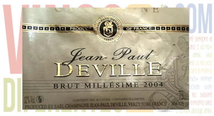 Jean Paul Deville Millesimé 2004. A.O.C. Champagne.