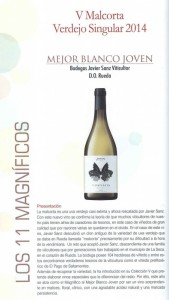 Imagen. Malcorta 2014, mejor vino blanco joven