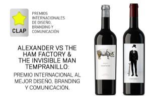Imagen. Los vinos Alexander Vs The Ham Factory y The Invisible Man, Premio Internacional al mejor Diseño, Branding y Comunicación.