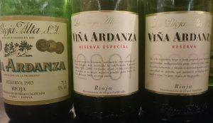 Imagen. Viña Ardanza cosechas 1985, 2001 y 2007