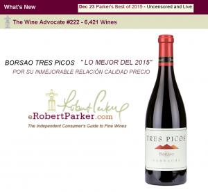 """Imagen. Borsao Tres Picos """"Lo mejor del 2015"""" Según la Guía Robert Parker"""