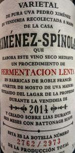 Imagen. Ximénez Spínola Fermentación Lenta 2014