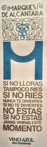Imagen. Etiqueta renovadora del vino azul de Marqués de Alcántara.