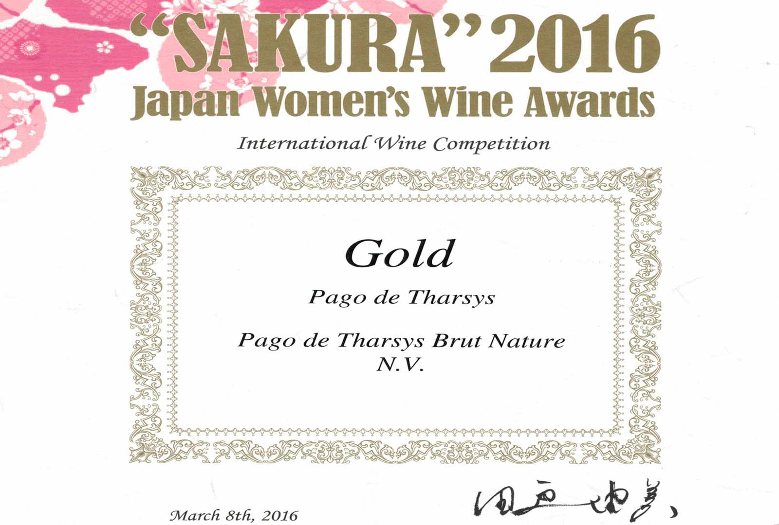 Pago de Tharsys Brut Nature medalla de Oro.