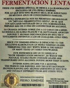 Imagen. Denominación Varietal Pedro Ximénez. Acreditación Propia.