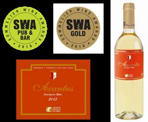 Acantus Sauvignon Blanc premiado con Trophy y Medalla de Oro
