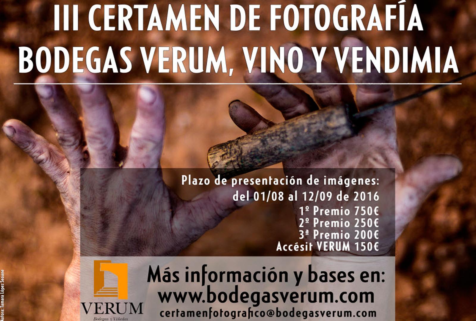 Certamen nacional de fotografía Verum, Vino y Vendimia.