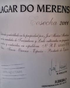 Imagen. Lagar do Merens. Un soberbio Ribeiro blanco.