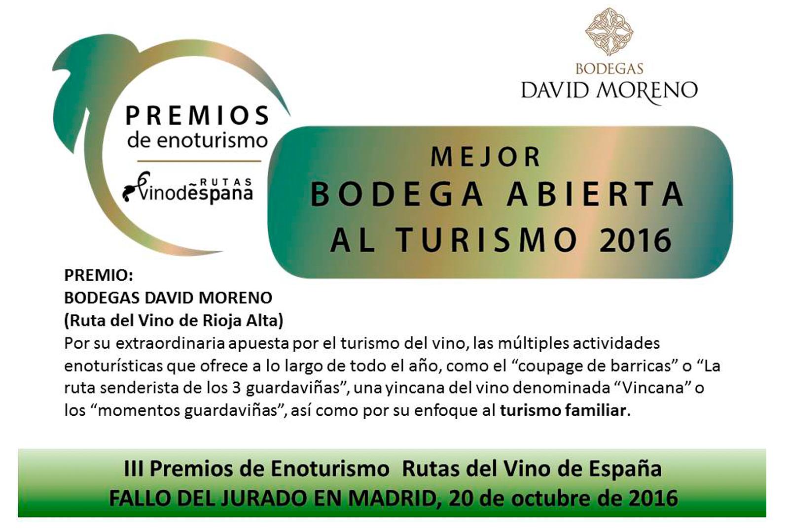 Bodegas David Moreno gana el premio a Mejor Bodega Abierta al Turismo.