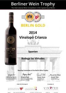 Vinalopó Crianza de Villena medalla de oro en la Berliner Wine Trophy