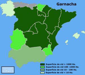 Distribución geográfica en España del la vid de garnacha